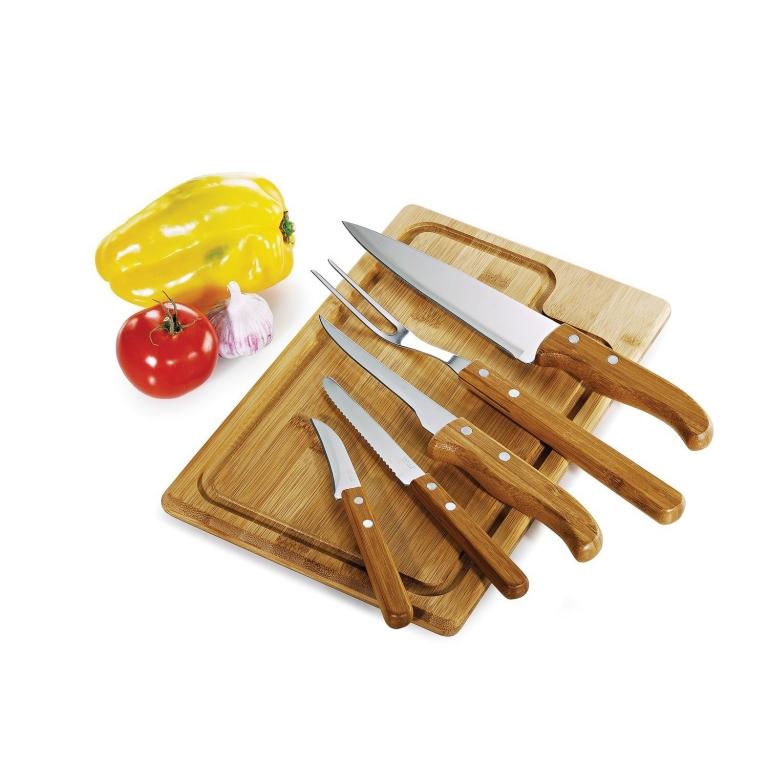 brinde Kit Churrasco 6 Pecas com Faca 7 e Tabua de Bambu-2