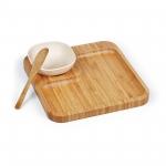 Brinde Kit Petisco e Patê em Bambu com 3 Peças