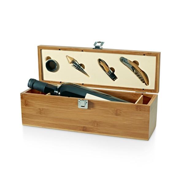 Brinde Kit Vinho Premium com 4 Peças e Caixa em Bambu